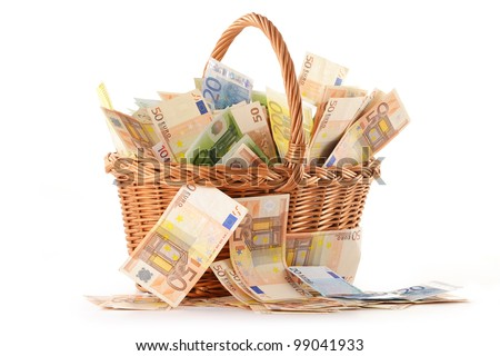 Composition with Euro banknotes in wicker basket. European Union currency - stock photo