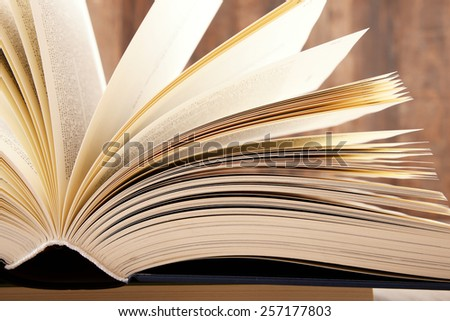 Composition with hardcover book in the library - stock photo