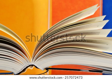 Composition with hardcover books in the library - stock photo