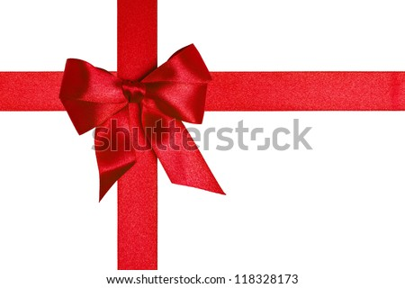 composition with red ribbons and a bow isolated on white - stock photo