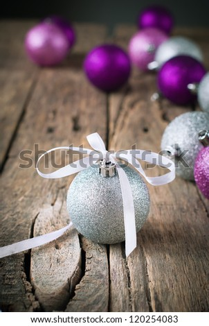 Composition with Silver Christmas Ball - stock photo