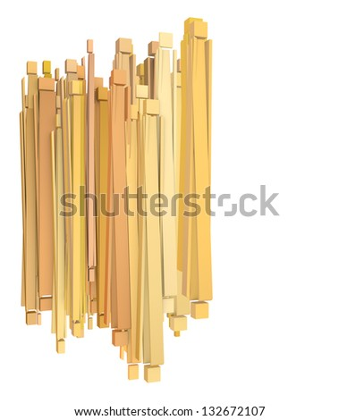 composition with soft orange yellow rectangular shapes on white - stock photo