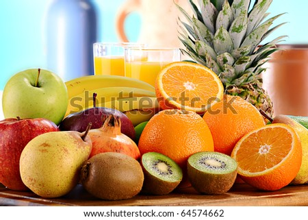 Composition with variety of fruits - stock photo