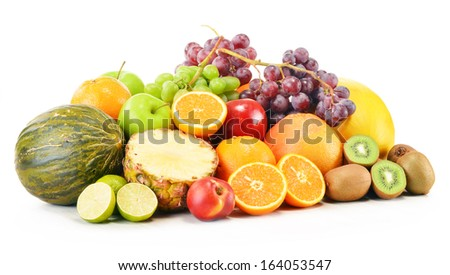 Composition with variety of fruits isolated on white background - stock photo