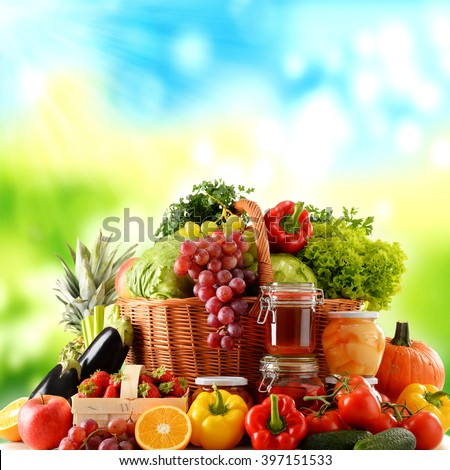 Composition with variety of organic food. Balanced diet - stock photo
