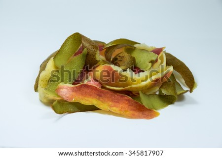 Composting pile of rotting kitchen fruits  - stock photo