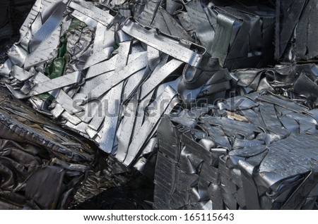 Compressed packages scrap of metal strips - stock photo