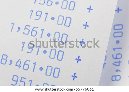 Computational stripes with numbers. Symbol for costs, expenses, revenues and profits. - stock photo