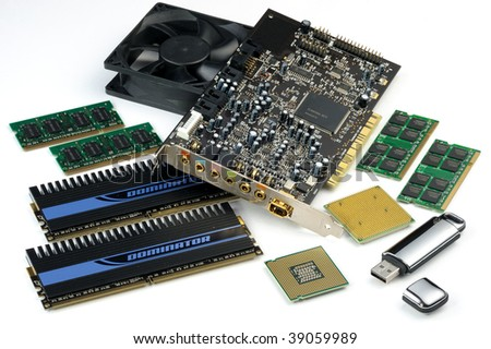 Computer accessories in assortment, isolated, hyper DoF. - stock photo