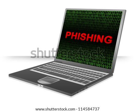 Computer And Internet Security Concept Present by Computer Laptop With Red 3D Phishing Text In Green Binary Code Screen - stock photo