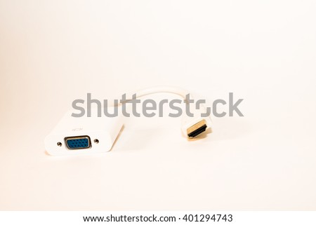 Computer and Technology, VGA Monitor Cables or DVI Digital Video Interface to HDMI Cables For Computer Connection - stock photo