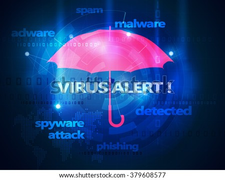 computer antivirus umbrella - stock photo