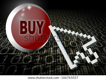 Computer arrow hovering above buy button with binary code in the background / Buying online - stock photo