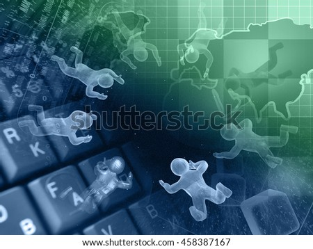 Computer background with map, keyboard and mans, in greens and blues. - stock photo