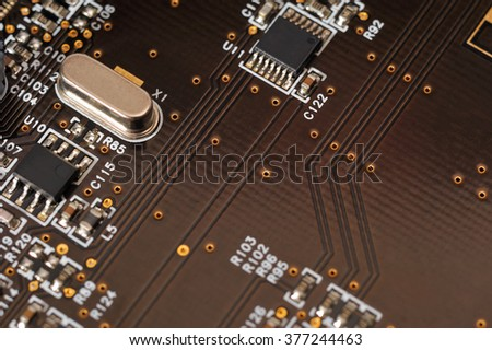 computer board with capacitors / selective focus - stock photo