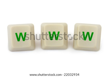 Computer buttons WWW isolated on white background - stock photo