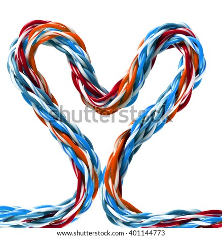 computer cable form heart isolated on white background - stock photo