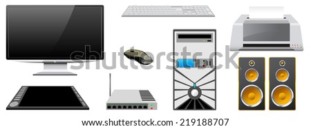 Computer case, monitor, printer, router, keyboard, mouse, speakers, graphics tablet are isolated on white background (raster version). - stock photo