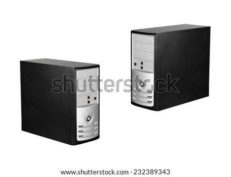 Computer cases isolated - stock photo