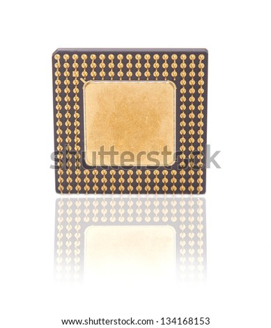Computer chip isolated on white background - stock photo