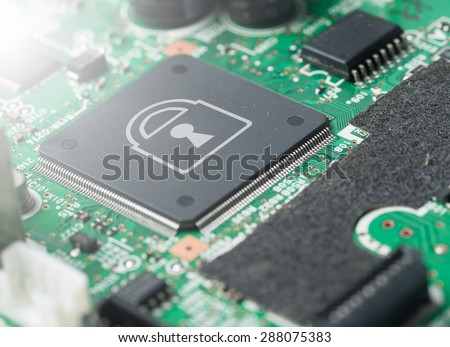 Computer chip locked , Computer Security conception,Light Effect - stock photo