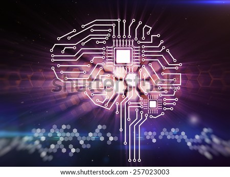 Computer circuit board in the form of the human brain  - stock photo