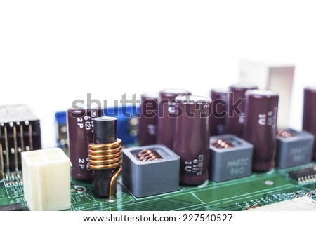 computer circuit board with lots of fine detail closeup - stock photo