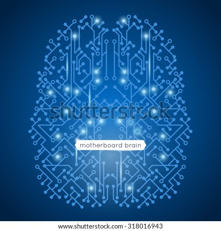 Computer circuit motherboard in brain shape technology and artificial intelligence concept  illustration - stock photo