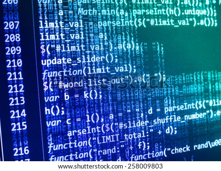Computer code script, function.Digital technology background. Programming code abstract screen of software developer. MORE SIMILAR IN MY GALLERY - stock photo