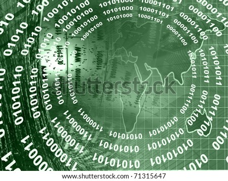Computer collage - map, computer keyboard and mail signs, in greens. - stock photo