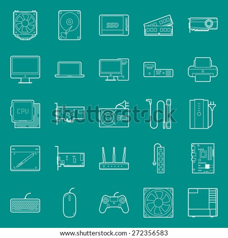 Computer components and peripherals thin lines icons set graphic illustration - stock photo