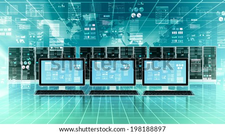 Computer connected to global internet server network and doing data processing - stock photo