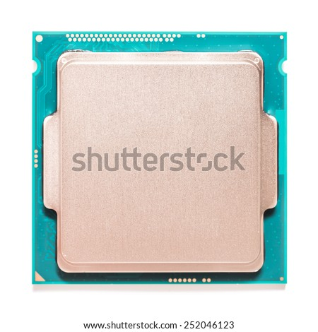 Computer CPU (Central Processing Unit) Chip Isolated On White - stock photo