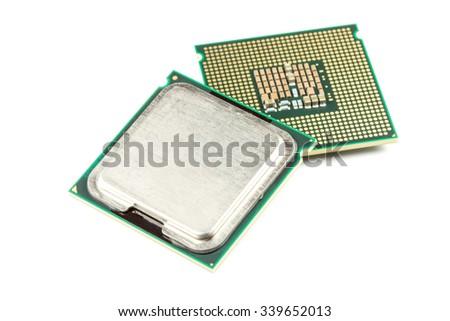 Computer CPU chip close up white background - stock photo