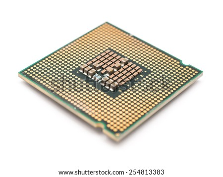 Computer CPU Chip Isolated - stock photo