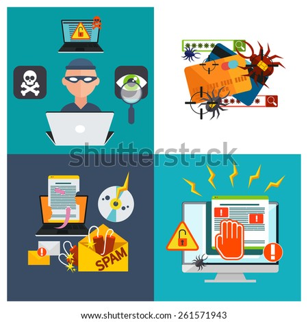 Computer crime in flat design concept. Criminal using computer to commit crime. Hacker activity viruses hacking and e-mail spam. Raster version - stock photo