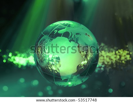 computer data concept with earth globe against fiber optic - stock photo