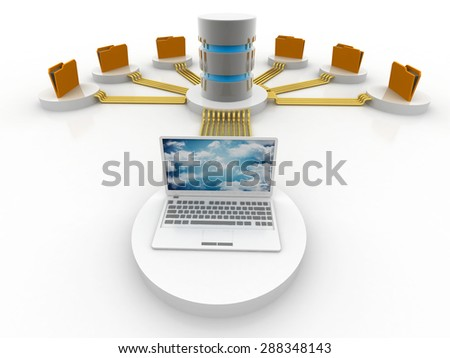 Computer Database with yellow Folder - stock photo