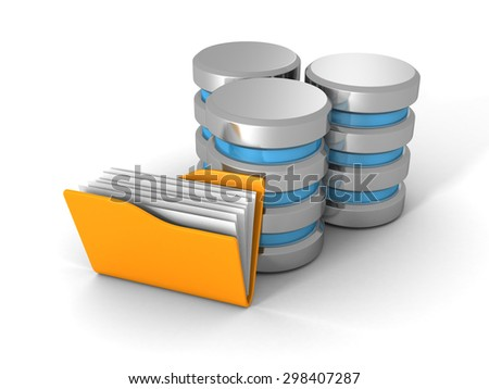 Computer Database With Yellow Office Document Folder. 3d Render Illustration - stock photo