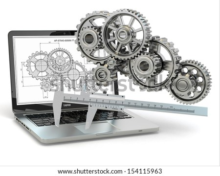 Computer-design engineering. Laptop,  gear, trammel and draft. 3d - stock photo