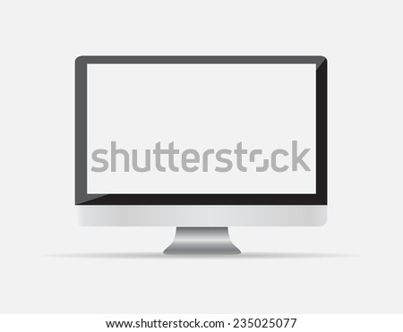 computer display isolated on white. illustration - stock photo
