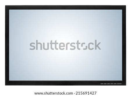 Computer display or lcd tv on white background - stock photo