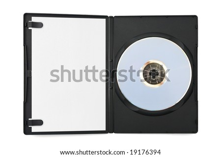 Computer dvd disk in case and empty paper isolated on white background - stock photo
