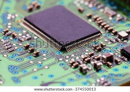 computer electronic circuit board - stock photo