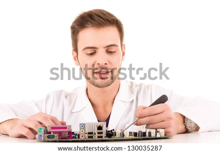 Computer Engineer, isolated over white background - stock photo