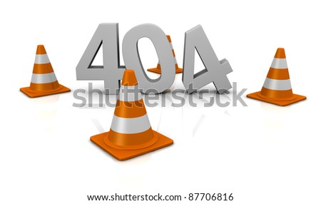 computer error 404 with traffic cones around the number (3d render) - stock photo