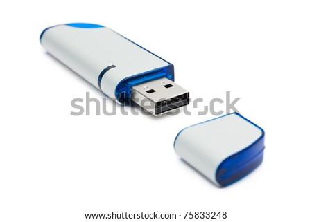Computer flash memory isolated on white background - stock photo