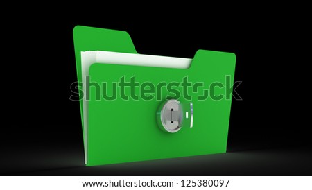 computer folder with key. Isolated 3d image Protecting the Data. 3d illustration - stock photo