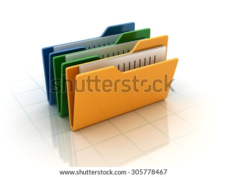 Computer Folders with documents. High Quality 3D Render - stock photo