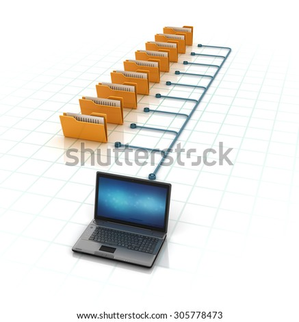 Computer Folders with Documents Sharing Data from Laptop. High Quality 3D Render  - stock photo
